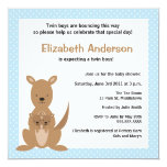 "Cute Kangaroo Baby Shower Invitation - Twin Boys 5.25"" Square Invitation Card"
