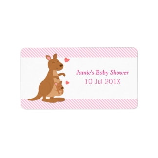 Cute Kangaroo Baby Shower Party Treats Label