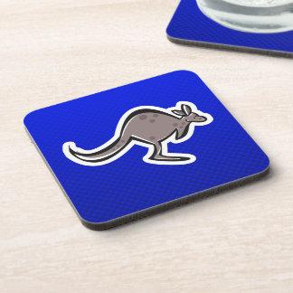 Cute Kangaroo; Blue Beverage Coaster