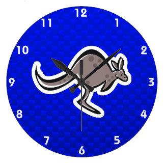 Cute Kangaroo; Blue Large Clock
