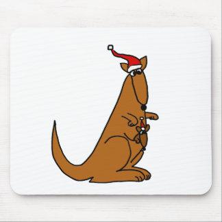 Cute Kangaroo Christmas Art Mouse Pad