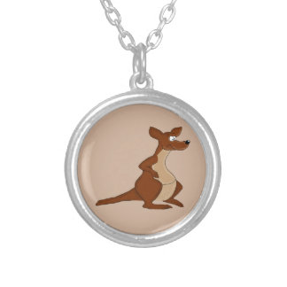 Cute kangaroo design matching jewelry set round pendant necklace