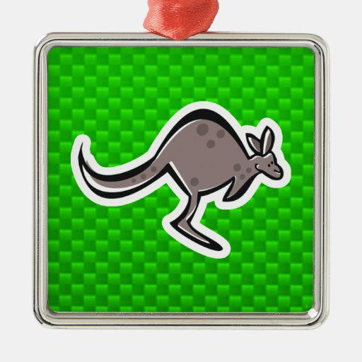 Cute Kangaroo; Green Square Metal Christmas Ornament