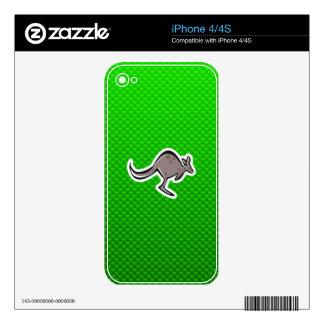 Cute Kangaroo; Green Skins For The iPhone 4