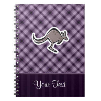 Cute Kangaroo; Purple Spiral Notebooks