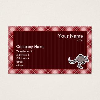 Cute Kangaroo; Red Plaid Business Card