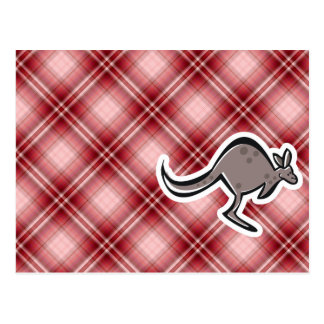 Cute Kangaroo; Red Plaid Postcard