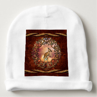 Cute kangaroo with baby in a fantasy landscape baby beanie