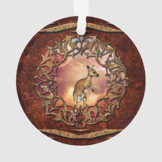 Cute kangaroo with baby in a fantasy landscape ornament