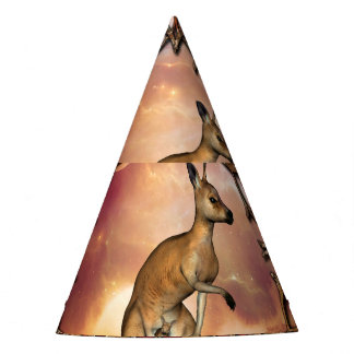 Cute kangaroo with baby in a fantasy landscape party hat