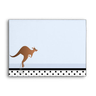 Cute kangaroo with baby in pouch envelopes