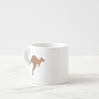Cute kangaroo with baby in pouch espresso cup