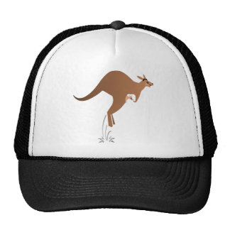 Cute kangaroo with baby in pouch mesh hats
