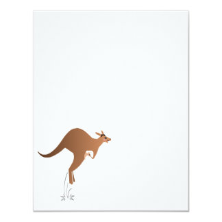 """Cute kangaroo with baby in pouch 4.25"""" x 5.5"""" invitation card"""