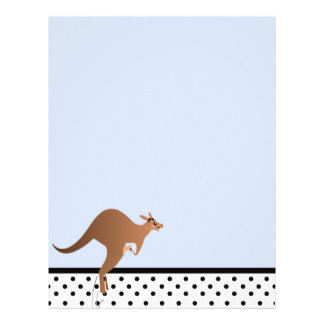 Cute kangaroo with baby in pouch letterhead