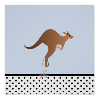 Cute kangaroo with baby in pouch poster