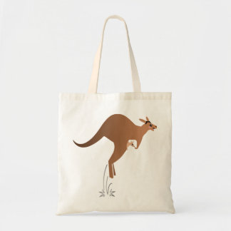 Cute kangaroo with baby in pouch tote bag