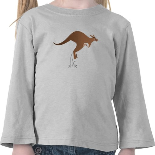 Cute kangaroo with baby in pouch tee shirt