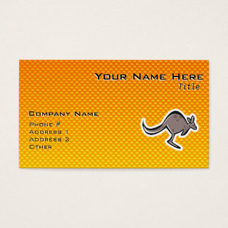 Cute Kangaroo; Yellow Orange Business Card