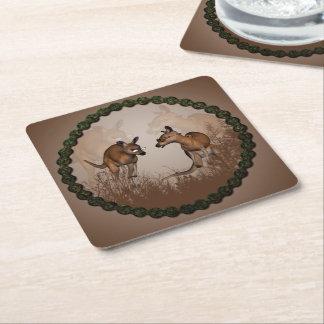 Cute kangaroos square paper coaster