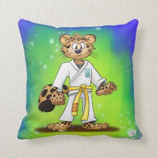 Cute Karate cartoon Jaguar Throw Pillow