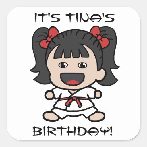 Cute Karate Girl Birthday Sticker