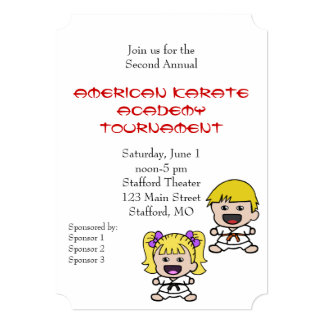 Cute Karate Tournament Invitation
