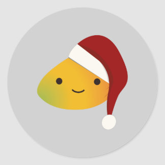 Cute Kawai Christmasi Mango Classic Round Sticker
