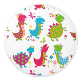 Cute,kawai,dinosaurs,kids,fun,happy,colourful,chic Ceramic Knob