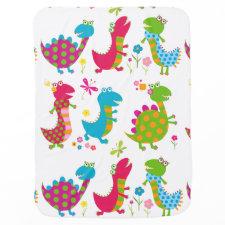 Cute,kawai,dinosaurs,kids,fun,happy,colourful,chic Stroller Blankets