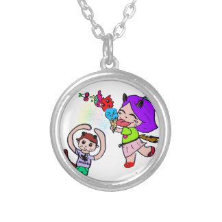 Cute Kawai Manga Ice cream Cat Girl Silver Plated Necklace