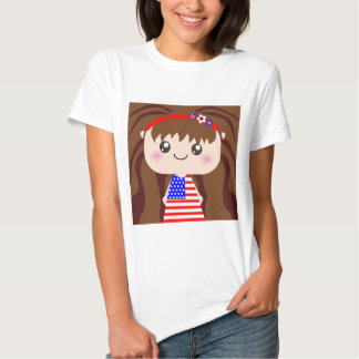Cute / Kawaii American July 4th Girl Squeable Tshirt