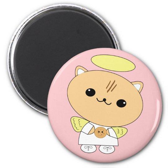 Cute kawaii angel kitty with cookie magnet
