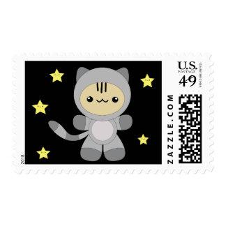 Cute kawaii astro kitty stamps