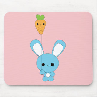 Cute kawaii baby blue bunny with carrot balloon mouse pad