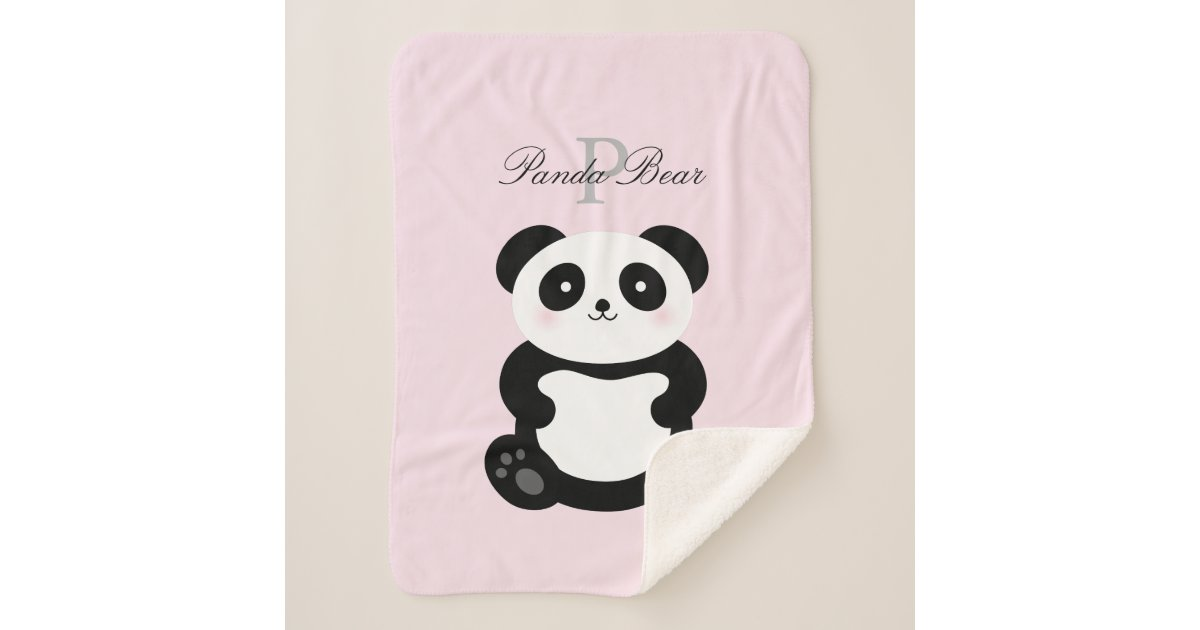 Cute Kawaii Baby Panda Bear Whimsical Monogram Sherpa Blanket Zazzle Com