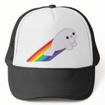Cute Kawaii Baby Rainbow Rocket Seal Trucker Hat