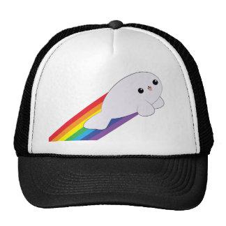 Cute Kawaii Baby Rainbow Rocket Seal Trucker Hat