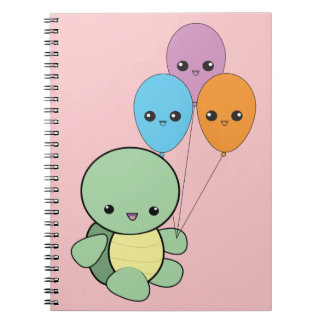 Cute kawaii baby turtle with balloons notebook