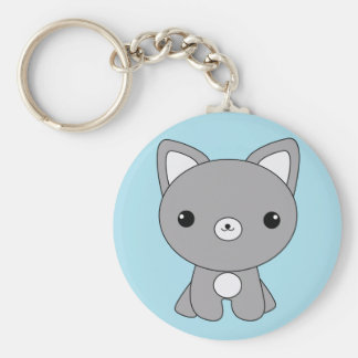 Cute kawaii baby wolf keychain