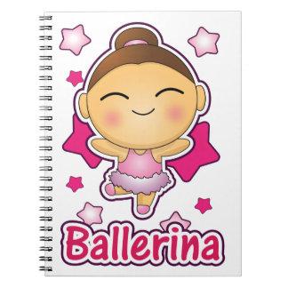 Cute Kawaii Ballerina doing ballet Spiral Notebooks