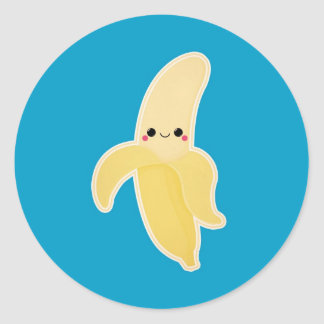 Cute Kawaii Banana Classic Round Sticker