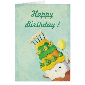 Cute Kawaii Birthday Cake Card