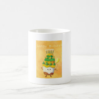 Cute Kawaii Birthday Cake Classic White Coffee Mug