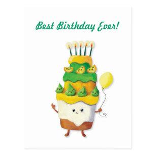 Kawaii Birthday Cake Postcards Zazzle