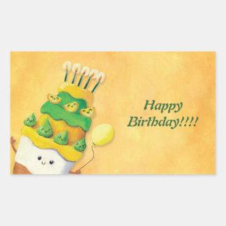 Cute Kawaii Birthday Cake Rectangular Sticker