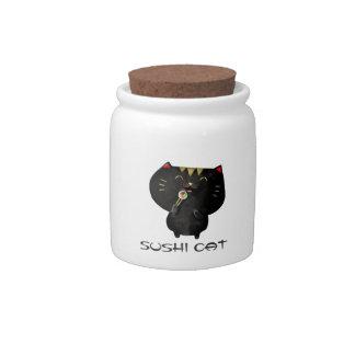 Cute Kawaii Black Sushi Cat Candy Jar