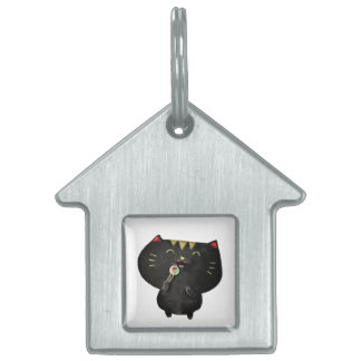 Cute Kawaii Black Sushi Cat Pet Name Tag