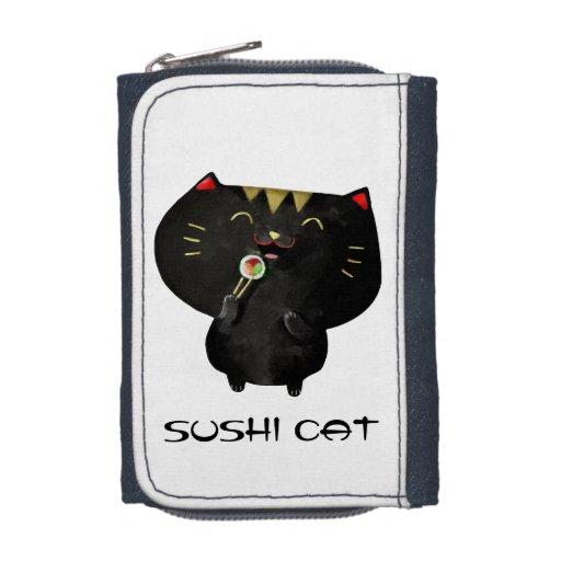 Cute Kawaii Black Sushi Cat Wallets