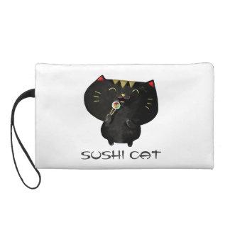 Cute Kawaii Black Sushi Cat Wristlet